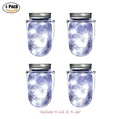 Mason Jar Lights, 4 Pack Outdoor Mason Jar Solar Powered Lids Hanging Lantern with 10 LED Naturally White Lights for Halloween Decorative Lighting- Garden Patio Lights