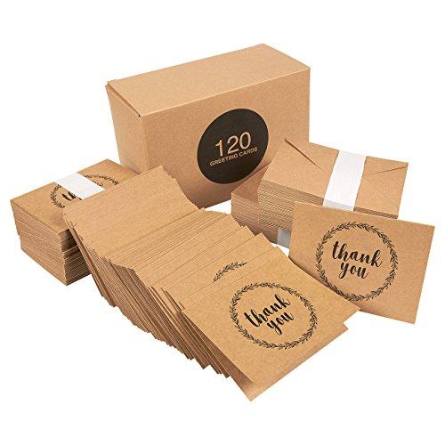 120 Pack Handwritten Brown Kraft Paper Thank You Note Cards - Bulk Box Set - Blank on the Inside - Kraft Design - Includes 120 Brown Kraft Paper Envelopes