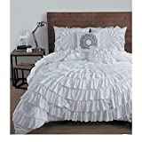 5-Piece Solid Medallion Floral Ruffled Pattern Comforter Set King Size, Elegant High-End Ruched Textured Design, Shabby Chic French Country Style, Vivid Vibrant Color White, Polyester, Unisex