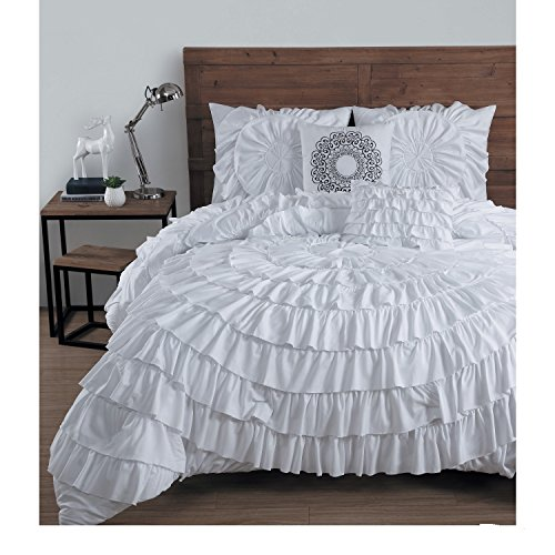 5-Piece Solid Medallion Floral Ruffled Pattern Comforter Set King Size, Elegant High-End Ruched Textured Design, Shabby Chic French Country Style, Vivid Vibrant Color White, Polyester, Unisex by SE