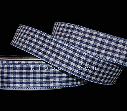 """5 Yards Bright Blue White Large Checked Gingham Plaid Wired Ribbon 1 1//2/""""W"""