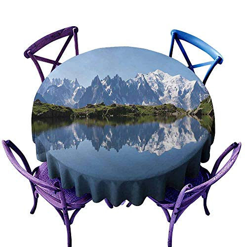 - AndyTours Spillproof Tablecloth,Lake,Mont Blanc Mountain Range Reflected in Cheserys Lake Alps France Panorama,High-end Durable Creative Home,47 INCH Pale Blue White Green