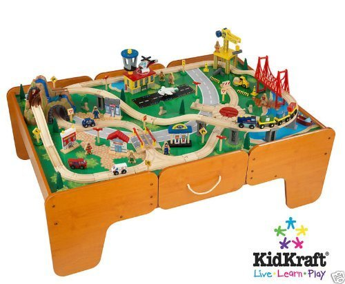 Amazoncom KidKraft Waterfall Mountain Train Set And Table Toys - Train set table