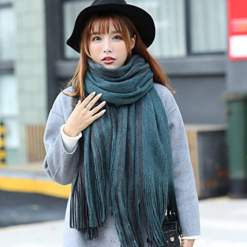 DIDIDD Female Autumn Scarf Shawl Collar Striped Thickening,Green grey by DIDIDD