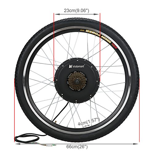 Voilamart 26'' Rear Wheel E-bike Hub 48V 1000W Electric Bicycle Conversion Kit Cycling Brushless Hub Motor w/ Intelligent Dual Mode Controller Restricted to 750W Secret Wire for Road Bike by Voilamart (Image #1)