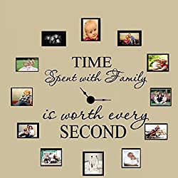 Iuhan Family Wall Decal, Time Spent with Family Vinyl Family Wall Sticker Picture Wall Decal Family Room Art Decoration