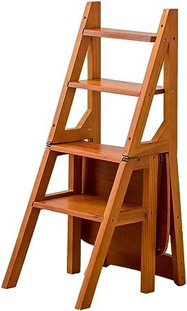Sillas plegables Madera natural 4 Pasos Multifunción Escalera plegable Estante Taburete Estante Biblioteca de cocina en casa, capacidad de 250 kg (4 colores opcionales) sillas de camping (Color : D) : Amazon.es: Hogar