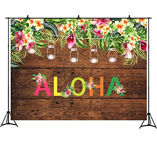 Aloha Luau Party Backdrop 7x5ft Wood Plank Birthday Decoration Tropical Hawaiian Flowers Photography Background Studio Props -