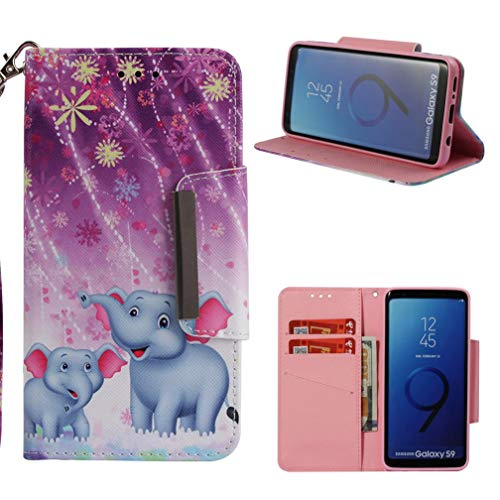 Galaxy S9 Case,Durable PU Leather Kickstand 3D Printing Wallet Case Inner Silicone Bumper Full Protective Flip Folio Wrist Strap Case for Samsung Galaxy S9 -Two Elephants