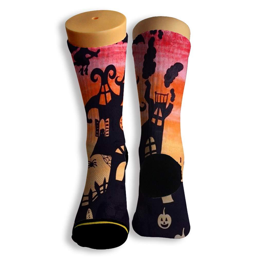 Basketball Soccer Baseball Socks by Potooy Happy Halloween Graffiti 3D Print Cushion Athletic Crew Socks for Men Women
