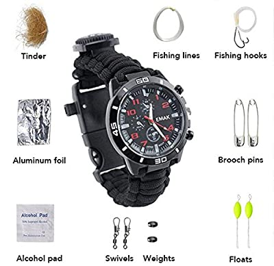 Survival Bracelet Watch,Guardians Paracord Multifunctional Outdoor Survival Kits with 12 tools including Paracord Rope, Compass, Whistle, Rope Cutter, Fire Starter Scraper, Flint from Guardians