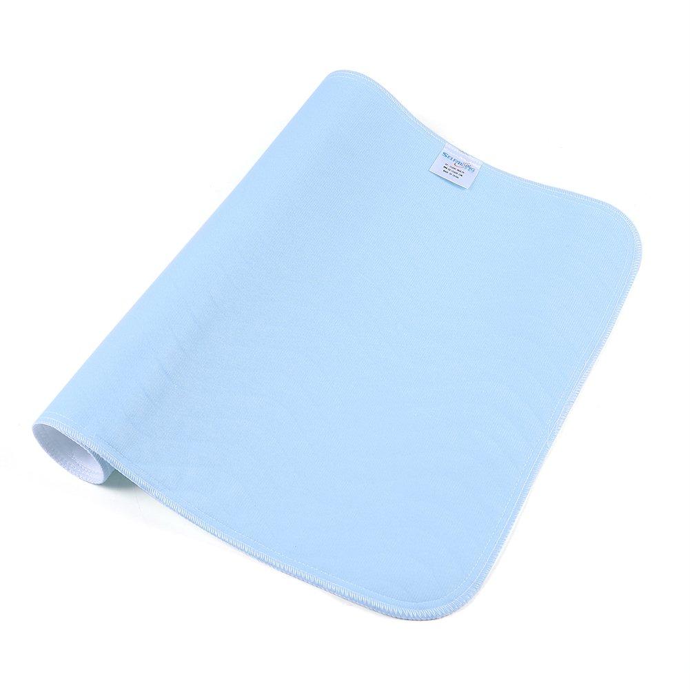 Ultra absorbente Una almohadilla de incontinencia Blanco 45 60 cm 2 piezas Ideal para ni/ños y adultos Reutilizable Lavable A prueba de fugas Almohadillas de colch/ón Protector Azul