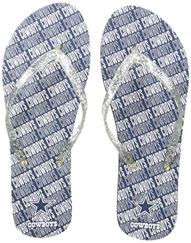- NFL Dallas Cowboys Unisex Wordmark Glitter Thong FLIP FLOPDALLAS Cowboys Repeat Wordmark Glitter Thong FLIP Flop - Large, Team Color, L