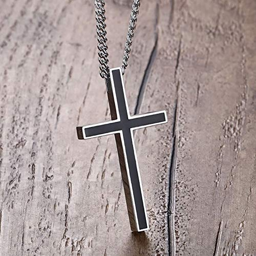 Davitu Mens Necklaces Stainless Steel Vintage Simple Cross Pendant Necklace for Men Fashion Jewelry Black Resin Choker Colar Length: 24inch