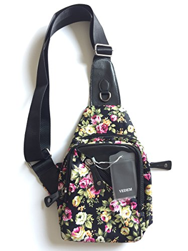 Floral Bag Body Chest Women's Nylon Cross Sling Rosa Shoulder Multiflora Bag Tqaw8