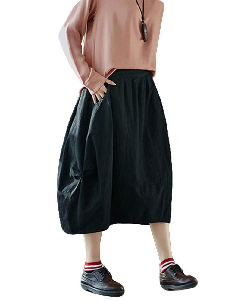 Women Vintage Loose Cotton Linen Midi A-line Skirt Elastic Waist Pocket (Black, One Size)
