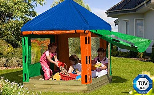 67030/67031 Kinderpavillon (LxBxH): 153 x 153 x 180 cm / Sandkasten aus Holz mit Pavillon und Plane / Sandkastenbretter 30 mm stark, gehobelt und gefast / inkl. 2 Sitzecken von Gartenwelt Riegelsberger