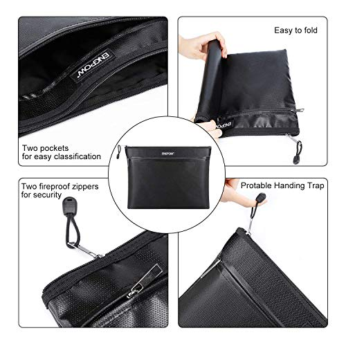"Fireproof Document Bag Two Pockets Two Zippers,ENGPOW Fireproof Safe Bag 13.4""x 10.2"" Waterproof and Fireproof Money Bag Money Safe Pouch File Storage for A4 Document Holder,Cash and Tablet"
