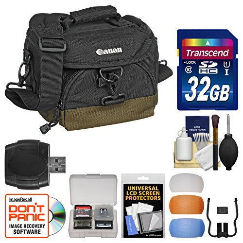 Canon 100EG Digital SLR Camera Case - Gadget Bag with 32GB Card + Flash Diffuser Kit for EOS 7D, 77D, 80D, 5D Mark II III IV, Rebel T6, T6i, T6s, T7i, SL2 by Canon