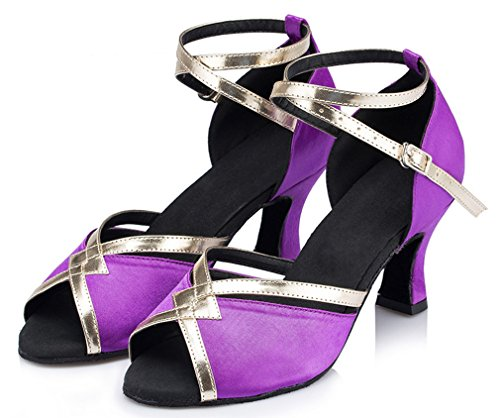 Purple Thick Women's Strap Heel Ankle Honeystore Shoes Dance 5q70dIw