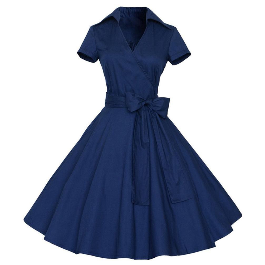 Kimloog Women Short Sleeve V-Neck Lapel Vintage Swing Dress Waist Tie Bow Hem Party Sundress (XL, Navy) by Kimloog