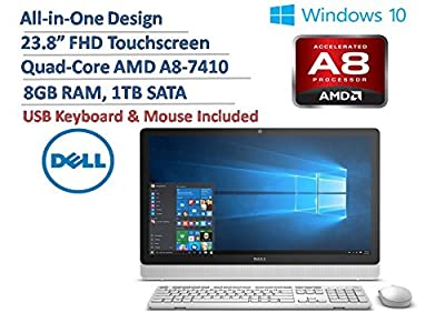 """DELL Inspiron 24 23.8"""" All-in-One FHD IPS Touchscreen Desktop, Quad-Core AMD A8-7410 up to 2.5GHz, 8GB DDR3, 1TB HDD, DVDRW, AMD Radeon R5, WLAN, Bluetooth, USB 3.0, Windows 10 (Certified Refurbished)"""