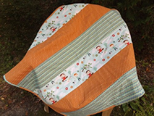 Handmade Large Riley Blake Fly a Kite Strip Crib Quilt - Modern Crib Quilt - Aqua, Green, Orange Strip Quilt