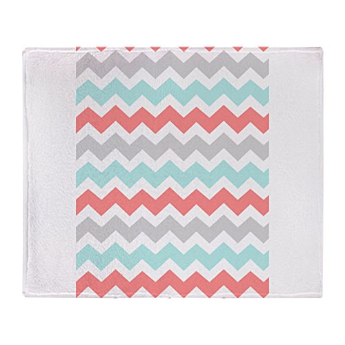 CafePress - Coral Grey Aqua Chevron Pattern - Soft Fleece Throw Blanket, 50