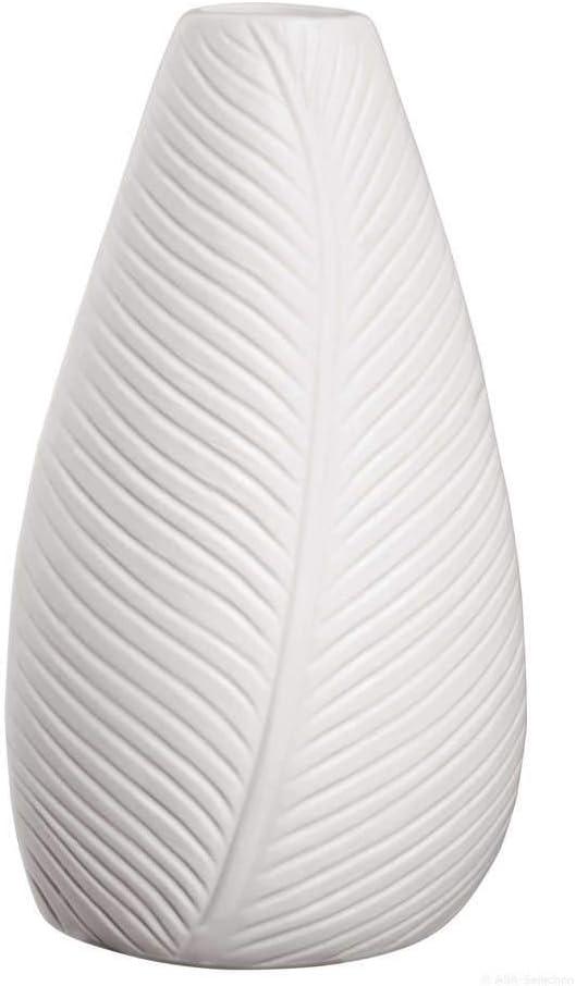 Blanc H.18cm Vase Leaf Porcelaine Asa