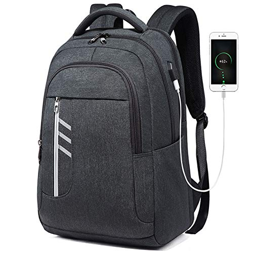 Asdsda Backpack 15 Inch Waterproof Polyester Cloth Wear-Resistant Tear-Proof Night Reflective Strip External USB Interface Outdoor Backpack, Computer Bag, Casual Bag, Business Bag, School Bag,Gray