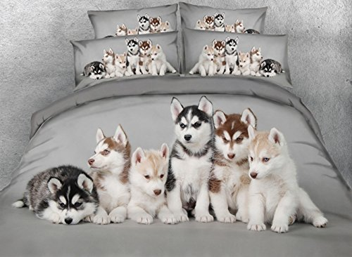 Ammybeddings Soft Grey Duvet Covers King with 1 Bed Sheet and 2 Pillow Shams Bedding Sets,4 PCS Design Adorable Puppies Comforter Cover Sets King,Unique Modern Luxury Bedroom Sets by Ammybeddings (Image #2)