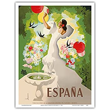 Espana (Spain) - Dancer with Fountain and Birds - Vintage World Travel Poster by Marcias Jose Morell c. 1941 - Master Art Print - 9in x 12in
