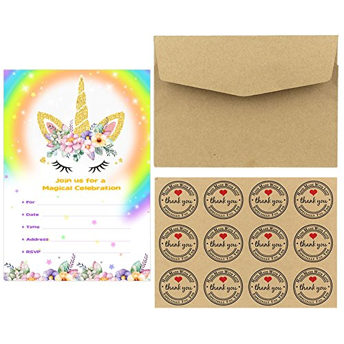 Aytai 20pcs Rainbow Unicorn Birthday Invitations with Envelopes + Thank You Tags, Party Invitation Cards for Kids Birthday Baby Shower Unicorn Party Supplies (Floral) by Aytai (Image #2)