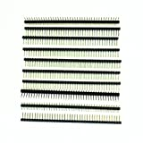 SODIAL(R) 10 Pcs 1 x 40 Pin 2.54mm Pitch Single Row Right Angle PCB Pin Headers