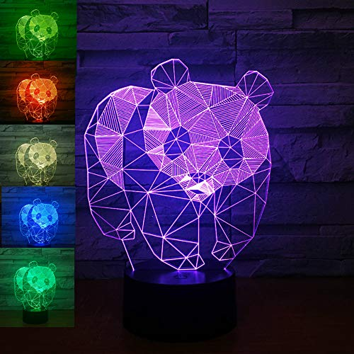3D Panda Night Light Bear Animal Table Lamp Decor Table Desk Optical Illusion Lamps 7 Color Changing Lights LED Table Lamp Xmas Home Love Brithday Children Kids Decor Toy Gift (Panda Bear Lamp)