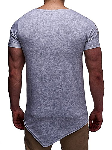Enjoybuy Mens T Shirts Short Sleeve Hipster Hip Hop Basic Curved Hem Ripped Tops with Holes (Large, 02-Grey)