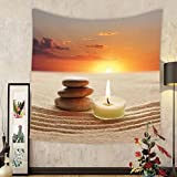 Gzhihine Custom tapestry Spa Decor Tapestry Little Candle with Three Stones Middle of Sand with Sunset Landscape for Bedroom Living Room Dorm 80WX60L White Brown and Orange