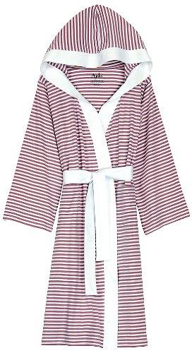 Nine Space Knee Length Striped Jersey Knit Robe, Small/Medium, - Cotton Robe Jersey