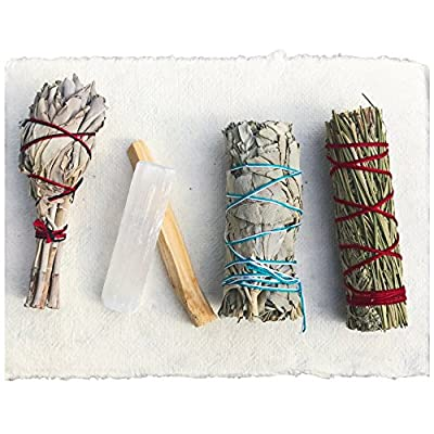 Sage Smudge Stick Kit - White Sage, Palo Santo, Mini Sage, Sage and Sweetgrass Smudging Sticks PLUS a Selenite Crystal & How to Guide for Cleansing your Home - Hand tied in California (Selenite) - SMUDGE STICK KIT: Our all natural sampler pack includes 4 smudge sticks and a selenite crystal - 2 white sage, 1 sage + sweetgrass, and a palo santo stick. Our sage and palo santo clear negative energy while sage and sweetgrass blesses your home with positive energy, love, and peace. Our smudging kit is the perfect way to try different smudge sticks. Each stick has its own woodsy, rustic, and earthy aroma. Non-toxic, vegan, and hand-tied in the USA. WILDHARVESTED, WHITE SAGE: Handpicked in California by a member of First Nation's American Metis during full flower season to ensure that the smoke from our white sage has the STRONGEST POTENCY. Our sage is PURE and 100% sustainable because we harvest during the optimal time of the plant's growth. We ask for the blessing of all good things to come from harvesting the newly matured leaf-clusters. Sage should be harvested properly with love, blessings, and sustainability. HOW TO GUIDE: Easy to follow, step-by-step instructions are included in each pack and will guide you through the simple process of smudging your home or yourself to help eliminate negative toxins or influences. - living-room-decor, living-room, home-decor - 51o%2BJ9kJBBL. SS400  -