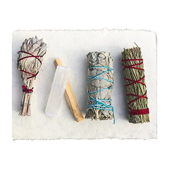 Sage Smudge Stick Kit - White Sage, Palo Santo, Mini Sage, Sage and Sweetgrass Smudging Sticks PLUS a Selenite Crystal & How to Guide for Cleansing your Home - Hand tied in California (Selenite) - SMUDGE STICK KIT: Our all natural sampler pack includes 4 smudge sticks and a selenite crystal - 2 white sage, 1 sage + sweetgrass, and a palo santo stick. Our sage and palo santo clear negative energy while sage and sweetgrass blesses your home with positive energy, love, and peace. Our smudging kit is the perfect way to try different smudge sticks. Each stick has its own woodsy, rustic, and earthy aroma. Non-toxic, vegan, and hand-tied in the USA. WILDHARVESTED, WHITE SAGE: Handpicked in California by a member of First Nation's American Metis during full flower season to ensure that the smoke from our white sage has the STRONGEST POTENCY. Our sage is PURE and 100% sustainable because we harvest during the optimal time of the plant's growth. We ask for the blessing of all good things to come from harvesting the newly matured leaf-clusters. Sage should be harvested properly with love, blessings, and sustainability. HOW TO GUIDE: Easy to follow, step-by-step instructions are included in each pack and will guide you through the simple process of smudging your home or yourself to help eliminate negative toxins or influences. - living-room-decor, living-room, home-decor - 51o%2BJ9kJBBL. SS570  -
