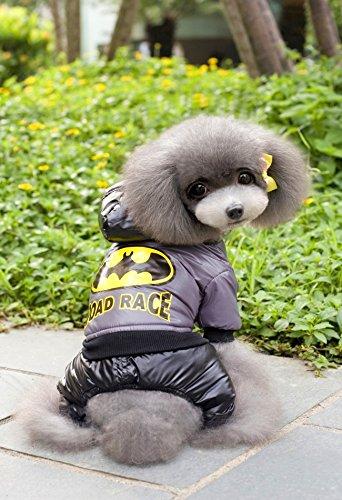 Pesco Pesco Super Hero Superman/Batman Warm Dog Jumpsuit Dog Waterproof Jacket Dog Costume (Batman, (Bear Suit Costume For Dog)