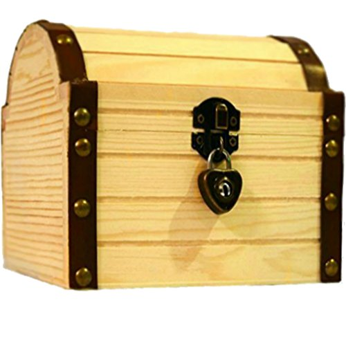 Lil' Genius Academy Wooden Treasure Chest Box With A Working Heart Shaped Lock And A Pair Of Keys, Great For Kids To Explore Their Endless Imagination (Treasure Chest Card Box)