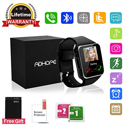 Adhope Bluetooth Smart Watch Touchscreen with Camera,Unlocked Watch Cell Phone with Sim Card Slot,Smart Wrist Watch,Waterproof Smartwatch Phone for Android Samsung IOS Iphone 7 Plus 6 6S Men Women Kids Girls price tips cheap