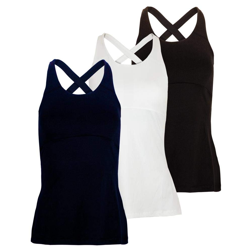 Fila Women's Keyhole Cross Back Tennis Tank Top(Navy,Medium)