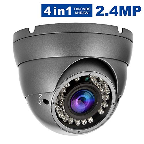 2.4MP Security Dome Camera, Anpvees HD 1080P 4-in-1 TVI/CVI/AHD/CVBS Security Cameras, 2.8-12mm Manual Varifocal Lens Waterproof Outdoor Surveillance Camera (AC3222-B) ()