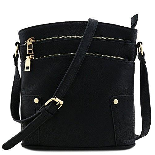 Triple Zip Pocket Medium Crossbody Bag Black by FashionPuzzle
