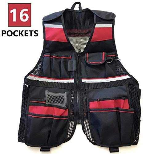 DURATOOL Lightweight Heavy Duty Tool Vest Work Apron with Multiple Pockets and Safety Vest Reflective Strips Adjustable Strap Works for Carpenters Electrician Construction for Men & Women Small to XL