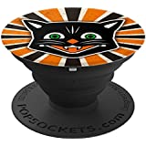 Retro Vintage Antique Style Ephemera Black Halloween Cat - PopSockets Grip and Stand for Phones and Tablets