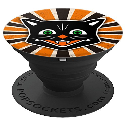 Retro Vintage Antique Style Ephemera Black Halloween Cat - PopSockets Grip and Stand for Phones and -