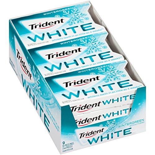 (Trident White Sugar Free Gum (Wintergreen, 16 Piece, 9 Pack))